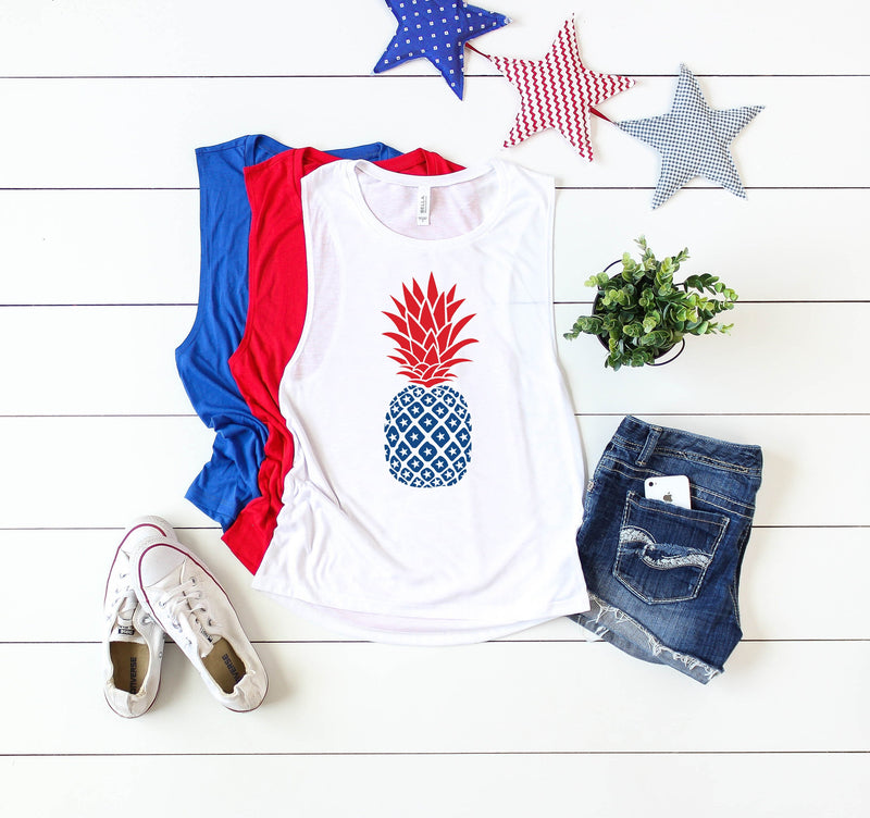 womens 4th of july tank, 4th of july pineapple, pineapple shirt, patriotic shirt, red white and blue, merica shirt, 4th of july shirt