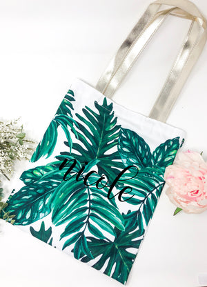 palm tree tote, personalized beach tote, gift for bridesmaid, bridal party gift, personalized tote, cute tote women, summer tote, beach tote