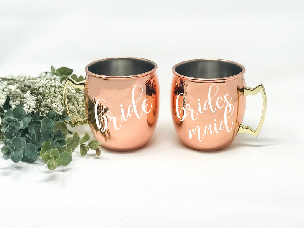 bridesmaid gift, rose gold tumbler, moscow mule, bridal party gift, bridal tumbler, Bridal Party, Bachelorette Party, Wedding Tumbler
