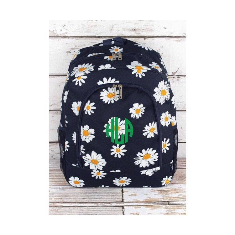 sunflower backpack, backpack for girls, girls backpack, monogram backpack, kids backpack, personalized back pack, back to school