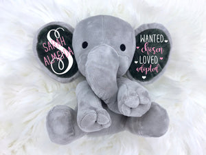 gift for adopted child,  adoption gift, adoption keepsake, security stuffed animal, personalized elephant