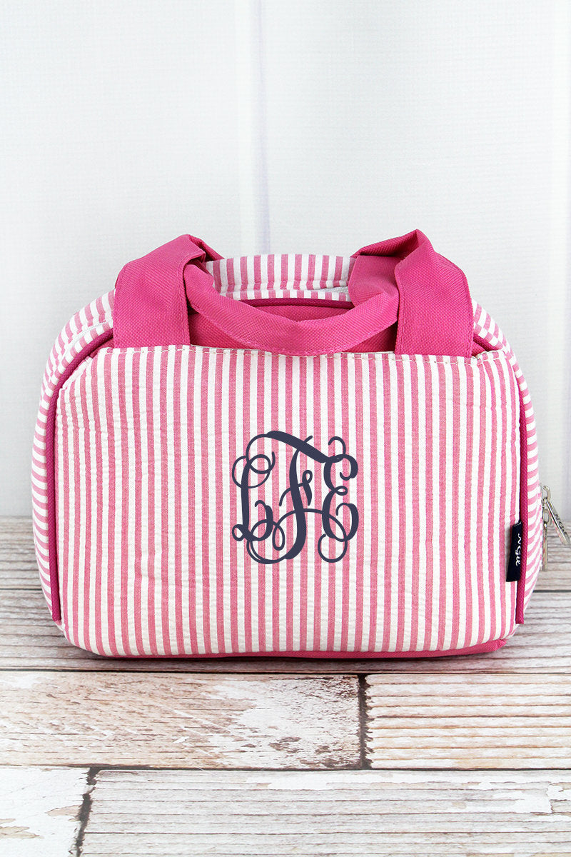 seersucker bag, seersucker, girls lunchbox, cute lunch bag, school lunch bag, arrow bag, girls lunch bag, monogram lunch bag, lunchbox girl