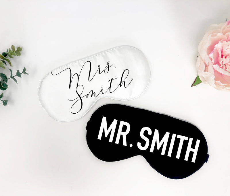 Bridal gift his and hers, honeymoon gift, bridal gift, gift for wife and husband, wedding gift, bridal shower gift, mr and mrs sleep mask