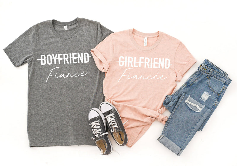 girlfriend fiance shirt, engagement gift, matching fiance shirts, matching couple shirts, fiance t-shirt, couples shirts, engagement shirt,