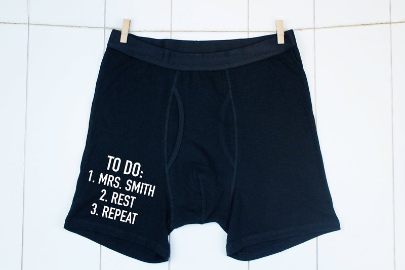 new husband gift, gift for newly wed, mens funny underwear, gift for husband, personalized mens underwear, mens boxers, husband gift