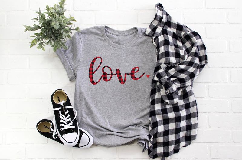 Women's Buffalo plaid shirt -Cute Valentines day shirt- Love shirt- Shirt for valentines day- Valentines day outfit- Valentines day top
