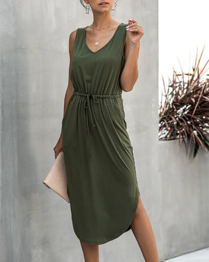 Summer Long Olive Dress