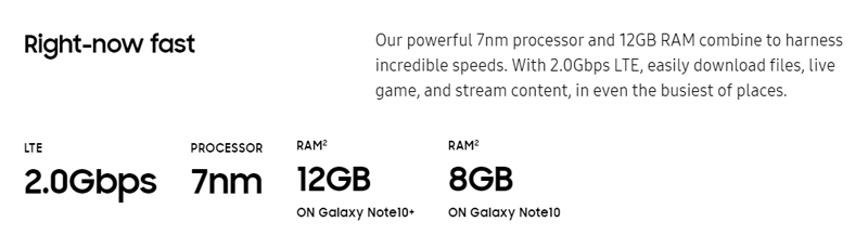 Galaxy Note10 & Note10+ Spec