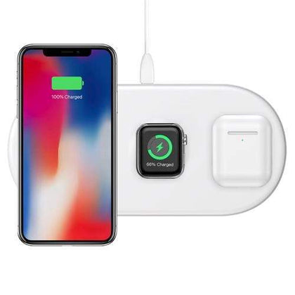 Baseus Original Accessories White Baseus 3 in 1 Wireless Charging Pad Australian Stock (for mobile phone/ iWatch/ Airpods)