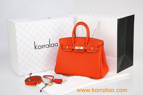 KORRALAA fashion light luxury hand crafted orange red genuine TOGO leather Gold Hardware Birkin style designer handbag/purse/totebag for women - i am not hermes birkin