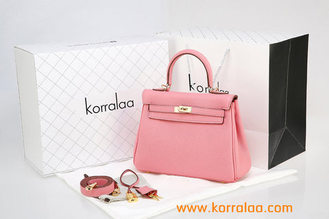 KORRALAA fashion light luxury hand crafted pink genuine TOGO leather Gold Hardware Kelly style designer handbag/purse/totebag for women - i am not hermes kelly