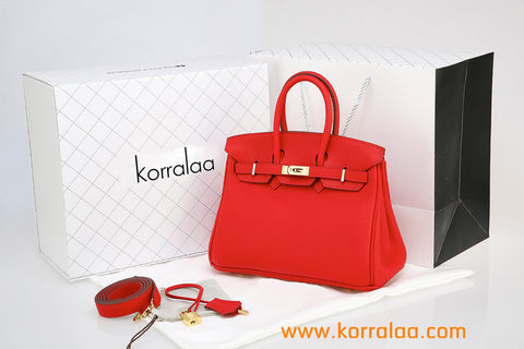 KORRALAA fashion light luxury hand crafted Big red genuine TOGO leather Gold Hardware Birkin style designer handbag/purse/totebag for women - no logo brand