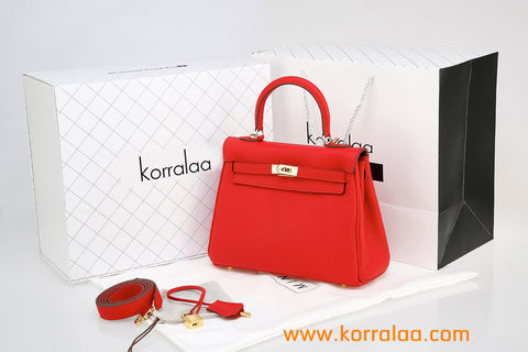 KORRALAA fashion light luxury hand crafted Big red genuine TOGO leather Gold Hardware Kelly style designer handbag/purse/totebag for women - i am not hermes