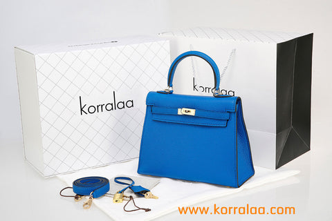 KORRALAA fashion affordable luxury hand crafted lake blue genuine TOGO leather Gold Hardware Kelly style designer handbag/purse/totebag for women - im not hermes kelly