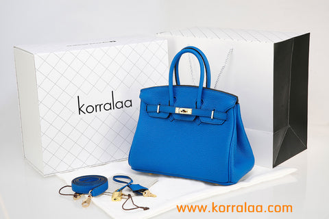 KORRALAA boutique light luxury hand crafted lake blue genuine TOGO leather Gold Hardware Birkin style designer handbag/purse/totebag for women - i'm not hermes