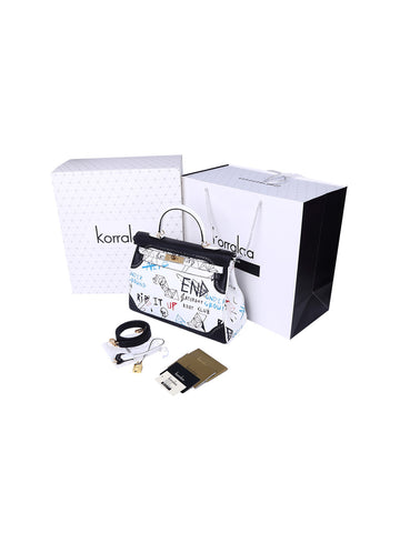KORRALAA fashion affordable luxury hand crafted black and white doodle Ghillies genuine swift leather Gold Hardware kelly style designer handbag/purse/totebag for women - hermes for fun