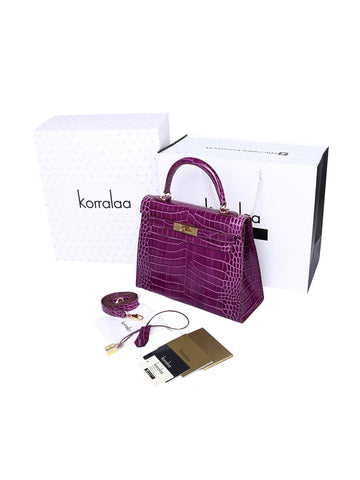 KORRALAA boutique light luxury hand crafted genuine purple crocodile leather Gold Hardware Kelly style designer handbag/purse/totebag for women - i'm not hermes