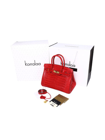 KORRALAA fashion affordable luxury hand crafted Big red genuine crocodile leather Gold Hardware birkin style designer handbag/purse/totebag for women - i am not house of hello