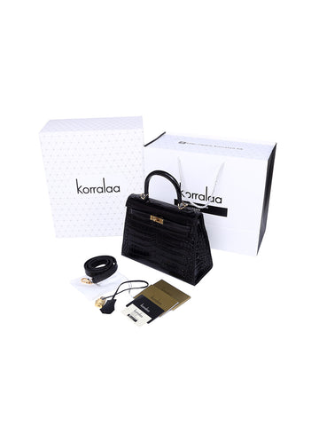 KORRALAA fashion affordable luxury hand crafted Black genuine crocodile leather Gold Hardware Kelly style designer handbag/purse/totebag for women - i am not hermes