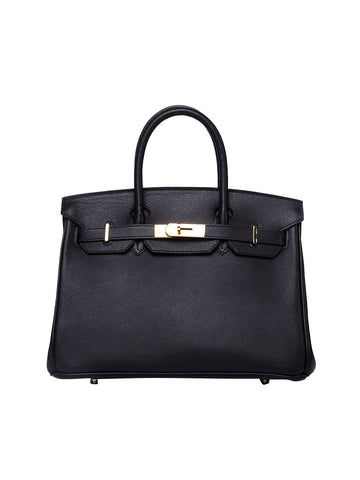 KORRALAA fashion affordable luxury hand crafted Black genuine epsom leather Gold Hardware birkin style designer handbag/purse/totebag for women - i am not hermes birkin