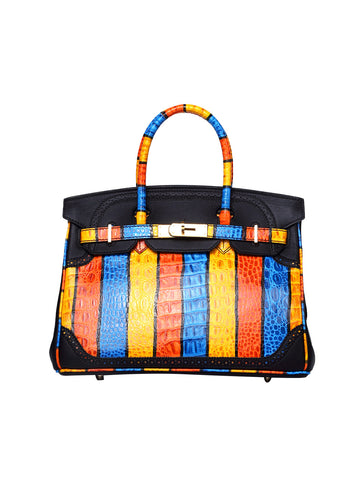 KORRALAA fashion affordable luxury hand crafted black and Colourful stripe Ghillies genuine swift leather Gold Hardware birkin style designer handbag/purse/totebag for women - hermes for fun