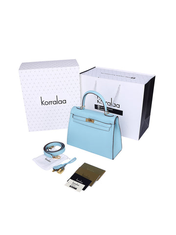 KORRALAA fashion affordable luxury hand crafted sky blue genuine epsom leather Gold Hardware Kelly style designer handbag/purse/totebag for women - im not hermes kelly