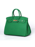 KORRALAA fashion light luxury hand crafted Bamboo green genuine TOGO leather Gold Hardware Birkin style designer handbag/purse/totebag for women - no logo brand