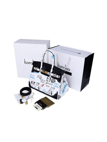 KORRALAA fashion affordable luxury hand crafted black and white doodle Ghillies genuine swift leather Gold Hardware birkin style designer handbag/purse/totebag for women - hermes for fun