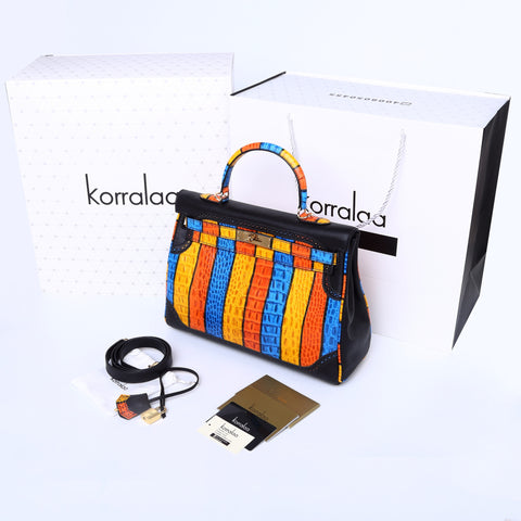 KORRALAA fashion affordable luxury hand crafted black and Colourful stripe Ghillies genuine swift leather Gold Hardware kelly style designer handbag/purse/totebag for women - hermes for fun