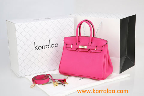 KORRALAA fashion light luxury hand crafted genuine Rose red TOGO leather Gold Hardware Birkin style designer handbag/purse/totebag for women - i am not house of hello