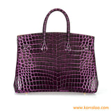 KORRALAA boutique light luxury hand crafted genuine purple crocodile leather Gold Hardware Birkin style designer handbag/purse/totebag for women - i'm not hermes