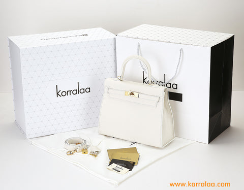 KORRALAA fashion light luxury hand crafted beige genuine TOGO leather Gold Hardware Kelly style designer handbag/purse/totebag for women - no logo brand