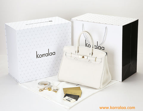 KORRALAA fashion light luxury hand crafted beige genuine TOGO leather Gold Hardware Birkin style designer handbag/purse/totebag for women - no logo brand