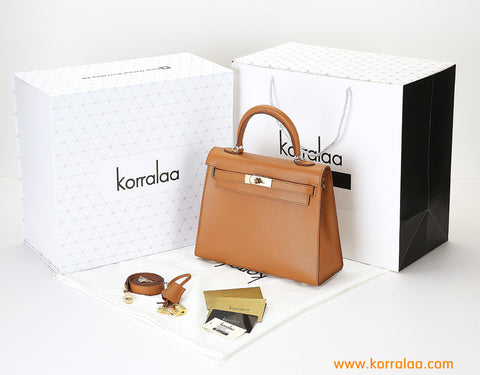KORRALAA fashion light luxury hand crafted mocha genuine epsom leather Gold Hardware Kelly style designer handbag/purse/totebag for women - i'm not hermes kelly