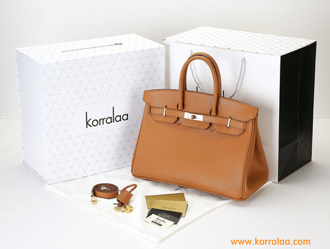 KORRALAA fashion affordable light luxury hand crafted mocha genuine epsom leather Gold Hardware Birkin style designer handbag/purse/totebag for women - i am not house of hello