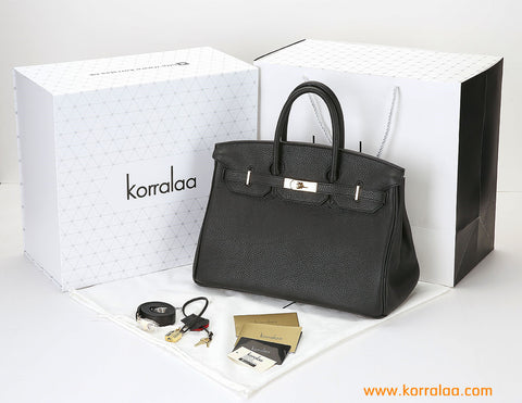 KORRALAA fashion light luxury hand crafted Black genuine TOGO leather Gold Hardware Birkin style designer handbag/purse/totebag for women - i am not hermes birkin