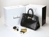 KORRALAA fashion light luxury hand crafted Black genuine crocodile leather Gold Hardware Birkin style designer handbag/purse/totebag for women - i am not hermes