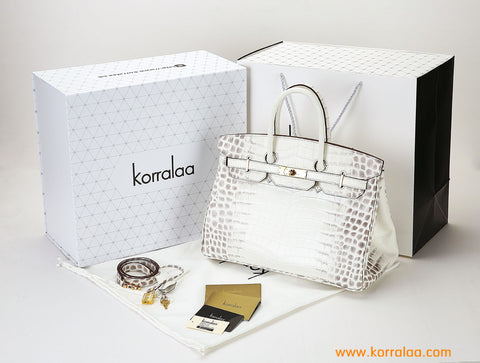 KORRALAA boutique light luxury hand crafted Himalayan genuine crocodile leather Gold Hardware Birkin style designer handbag/purse/totebag for women - im not hermes