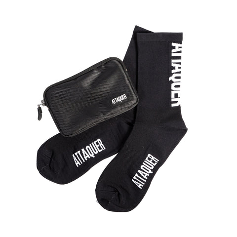 Black Attaquer Pocket Pouch and black Vertical Logo socks