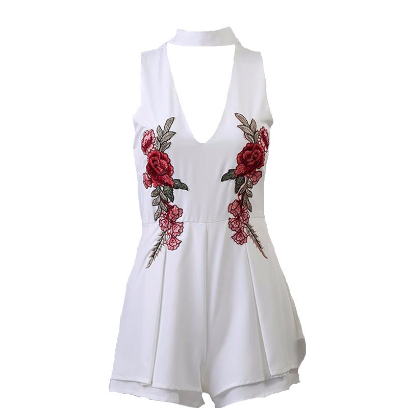 Rose Embroidery Playsuit