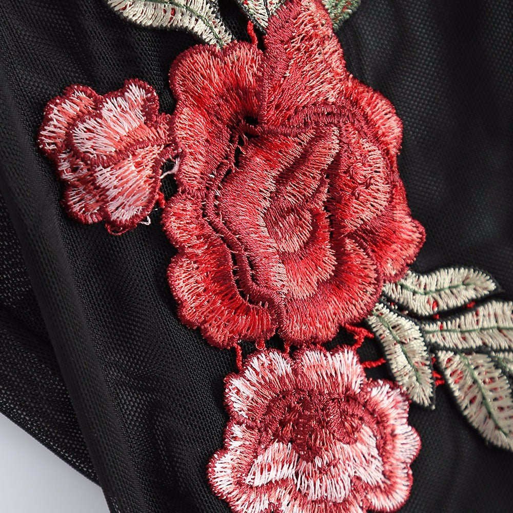 Black Rose Embroidery Bodysuit