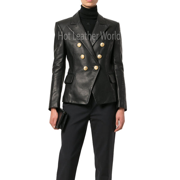 Double Breasted Women Leather Blazer -  HOTLEATHERWORLD