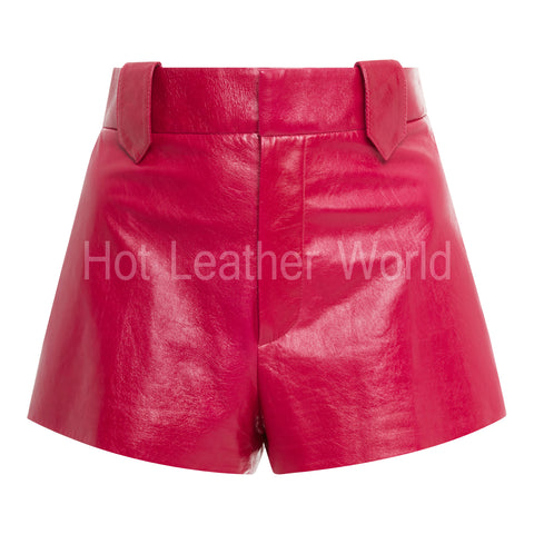Red Leather Short For Women -  HOTLEATHERWORLD