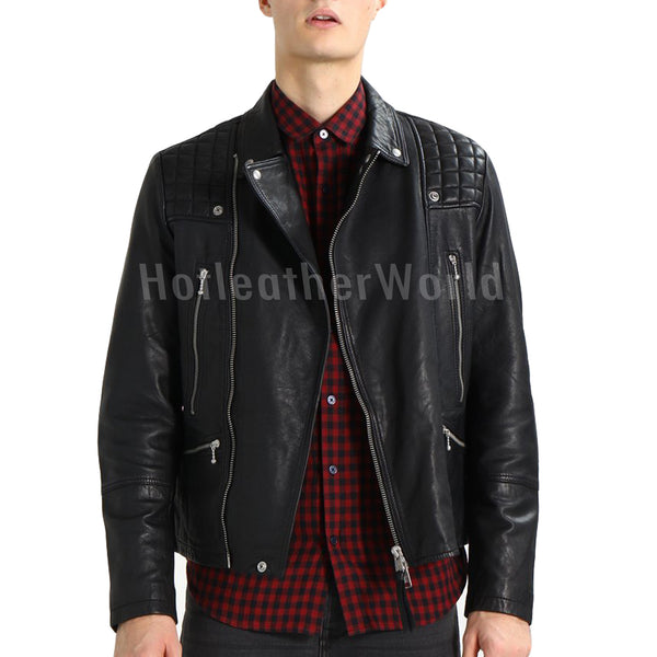 Quilted Style Men Leather Jacket -  HOTLEATHERWORLD