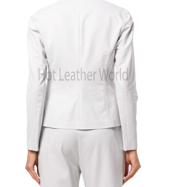 Fitted Women Leather Blazer -  HOTLEATHERWORLD