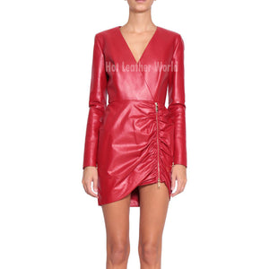 Gather Zipper Mini Red Leather Dress -  HOTLEATHERWORLD