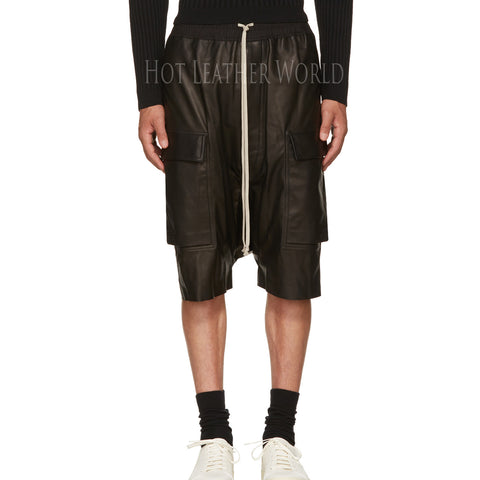 BLACK LEATHER CARGO SHORTS