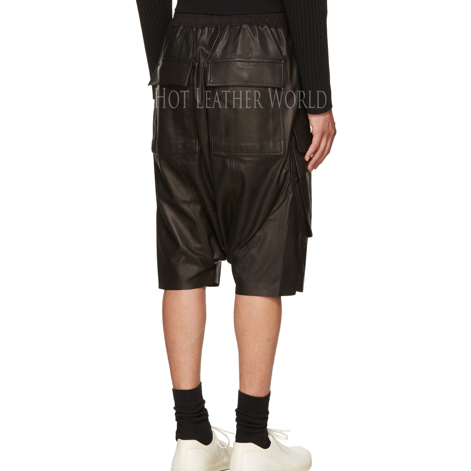BLACK LEATHER CARGO SHORTS -  HOTLEATHERWORLD