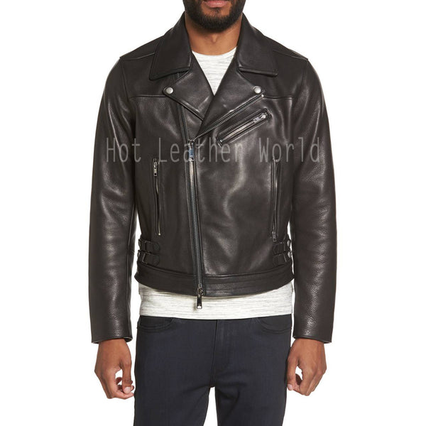 Trendy Moto Men Leather Jacket -  HOTLEATHERWORLD