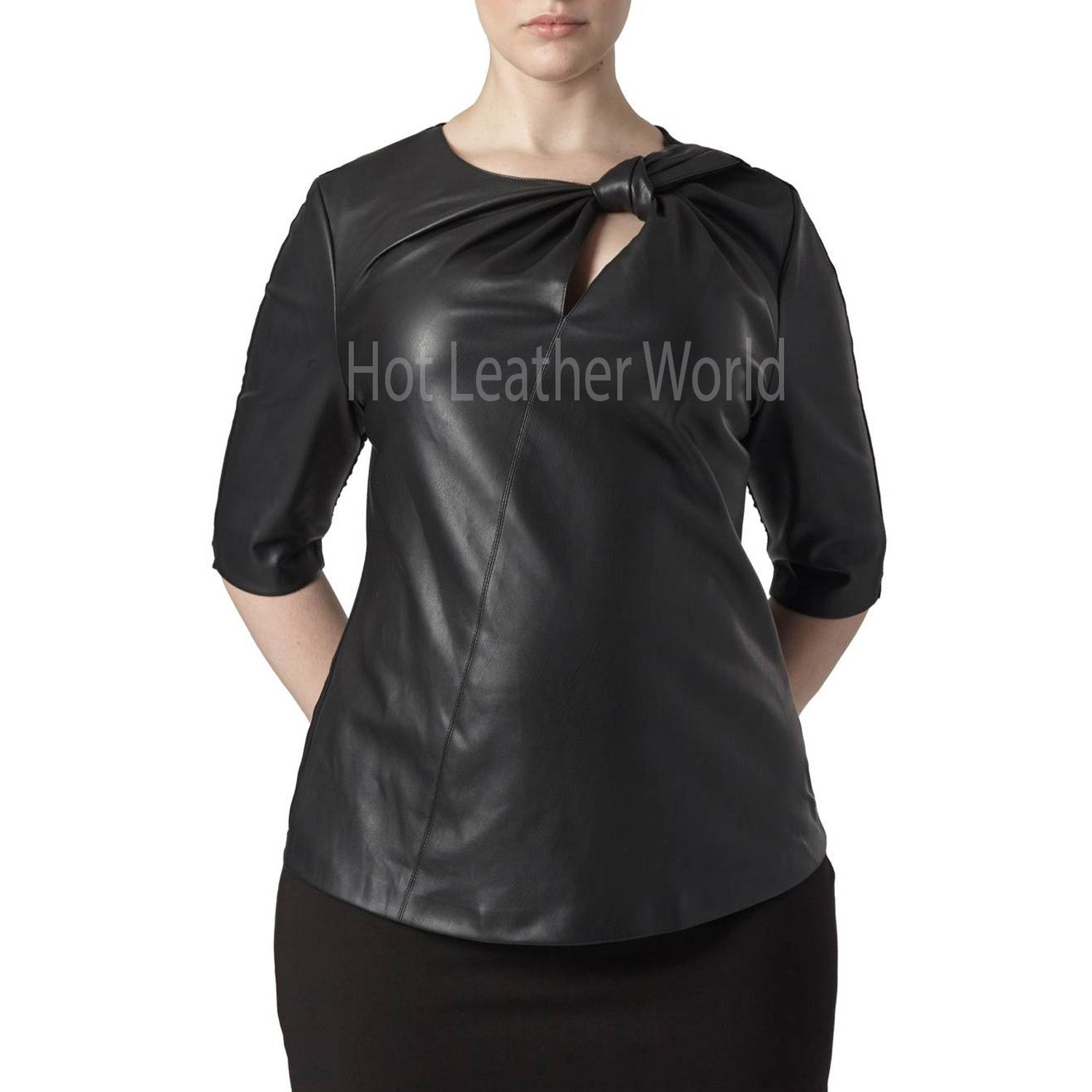Plus Size Faux Leather Front Top -  HOTLEATHERWORLD